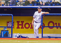 2 April 2016: Toronto Blue Jays first base coach Tim Leiper stands on the dugout steps during a pre-season exhibition series between the Blue Jays and the Boston Red Sox at Olympic Stadium in Montreal, Quebec, Canada. The Red Sox defeated the Blue Jays 7-4 in the second of two MLB weekend games, which saw a two-game series attendance of 106,102 at the former home on the Montreal Expos. Mandatory Credit: Ed Wolfstein Photo *** RAW (NEF) Image File Available ***