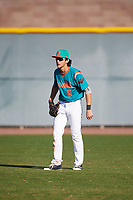 Kyle Kuramoto (6) of Cardinal Gibbons High School in Ft. Lauderdale, Florida during the Baseball Factory All-America Pre-Season Tournament, powered by Under Armour, on January 13, 2018 at Sloan Park Complex in Mesa, Arizona.  (Mike Janes/Four Seam Images)