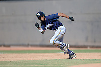 Milwaukee Brewers outfielder Johnny Davis (1) attempting to steal second during an Instructional League game against the Oakland Athletics on October 10, 2013 at Maryvale Baseball Park Training Complex in Phoenix, Arizona.  (Mike Janes/Four Seam Images)