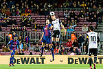 Sergio Busquets Burgos of FC Barcelona (L) fights for the ball with Rodrigo Moreno of Valencia CF (R) during the Copa Del Rey 2017-18 match between FC Barcelona and Valencia CF at Camp Nou Stadium on 01 February 2018 in Barcelona, Spain. Photo by Vicens Gimenez / Power Sport Images