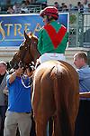 Animal Kingdom and jockey John Velazquez after winning his 2012 debut at Gulfstream Park, Hallandale Beach Florida.