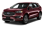 2019 Ford Edge Titanium 5 Door SUV angular front stock photos of front three quarter view