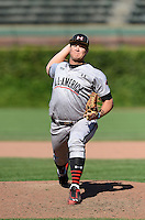 Pitcher Tyler Kolek (34) of Shepherd, Texas delivers a pitch during the Under Armour All-American Game on August 24, 2013 at Wrigley Field in Chicago, Illinois.  (Mike Janes/Four Seam Images)
