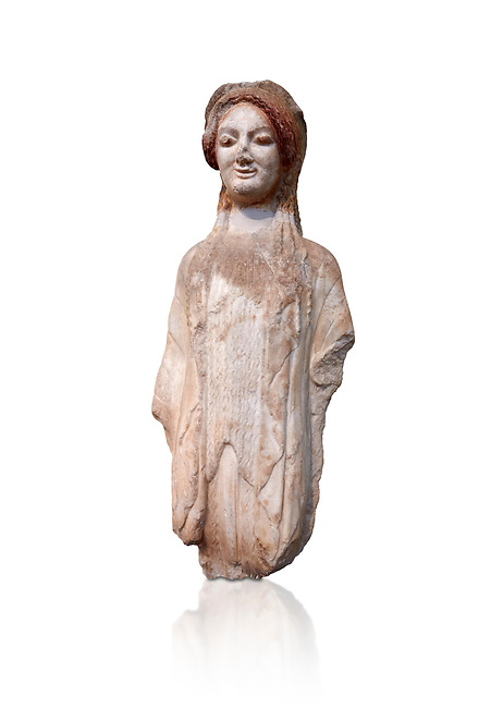 Ancient Greek Archaic statuette of a  kore, found in the Acropolis Athens, 490 BC, Athens National Archaeological Museum. Cat no BE 16/2009. Against white.<br /> <br /> The kore statues hair is adorned with a wreath and her ears by round disk earings. Traces of paint can be found on her garments and jewellery. Red paint was found on her hair and eyes, Acropolis Museum Cat no 687