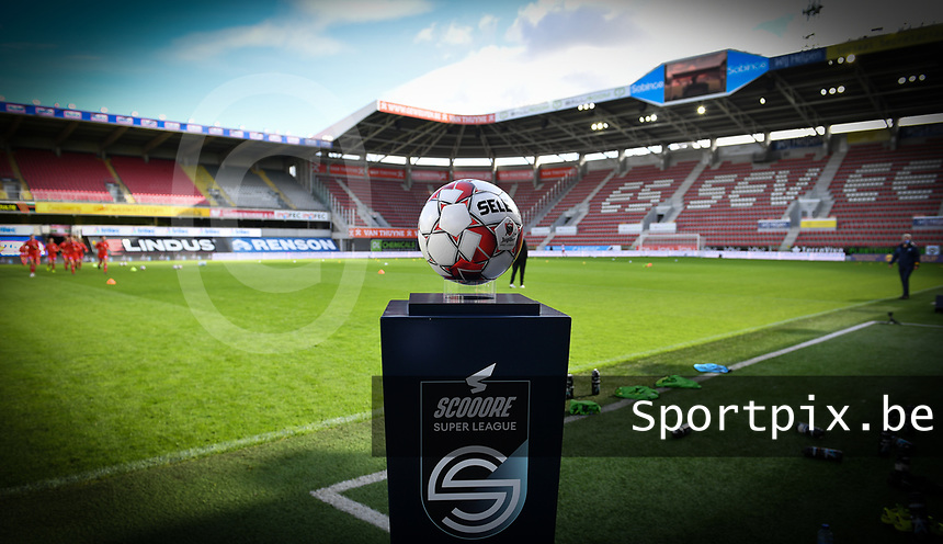 illustration picture showing the Scooore Super League Ball holder before a female soccer game between Zulte Waregem and the KAA Gent Ladies on the fourth matchday of the 2020 - 2021 season of Belgian Scooore Womens Super League , saturday 10 October 2020  in Waregem , Belgium . PHOTO SPORTPIX.BE | SPP | DAVID CATRY