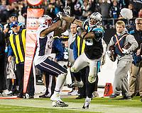 The Carolina Panthers play the New England Patriots at Bank of America Stadium in Charlotte North Carolina on Monday Night Football.  The Panthers defeated the Patriots 24-20.  Carolina Panthers wide receiver Steve Smith (89), New England Patriots cornerback Aqib Talib (31)