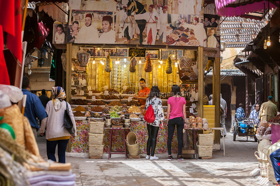 Fes, Morocco.  Vendor of Candies, Sweets, Pastry, Nuts, and Dried Fruit in the Medina, Fes El-Bali.