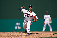 Minnesota Twins pitcher Hansel Robles (57) during a Major League Spring Training game against the Pittsburgh Pirates on March 16, 2021 at Hammond Stadium in Fort Myers, Florida.  (Mike Janes/Four Seam Images)