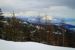 Idaho, North, Bonner County, Sandpoint. View of Lake Pend Oreille and the Cabinet Mountains from Schweitzer Mountain.