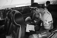 Michael Matthews (AUS/Orica-GreenEDGE) checking the race route (into Paris) one very last time on the teambus ahead of the race<br /> <br /> stage 21: Sèvres - Champs Elysées (109km)<br /> 2015 Tour de France