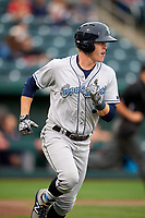 Corpus Christi Hooks designated hitter Trent Woodward (3) runs to first base during a game against the Springfield Cardinals on May 31, 2017 at Hammons Field in Springfield, Missouri.  Springfield defeated Corpus Christi 5-4.  (Mike Janes/Four Seam Images)