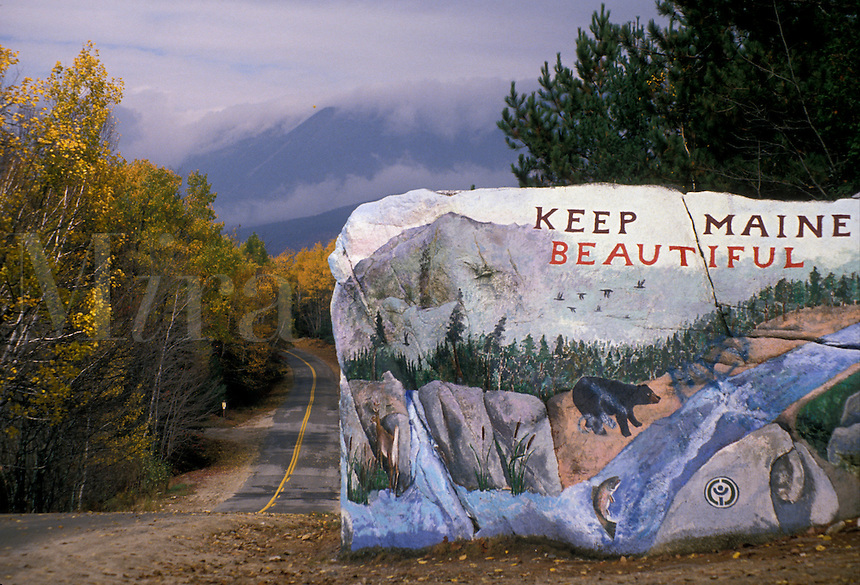 """AJ2231, Maine, Beautiful painted rock """"""""Keep Maine Beautiful"""""""" next to a road in northern Maine in autumn at entrance of Baxter State Park."""