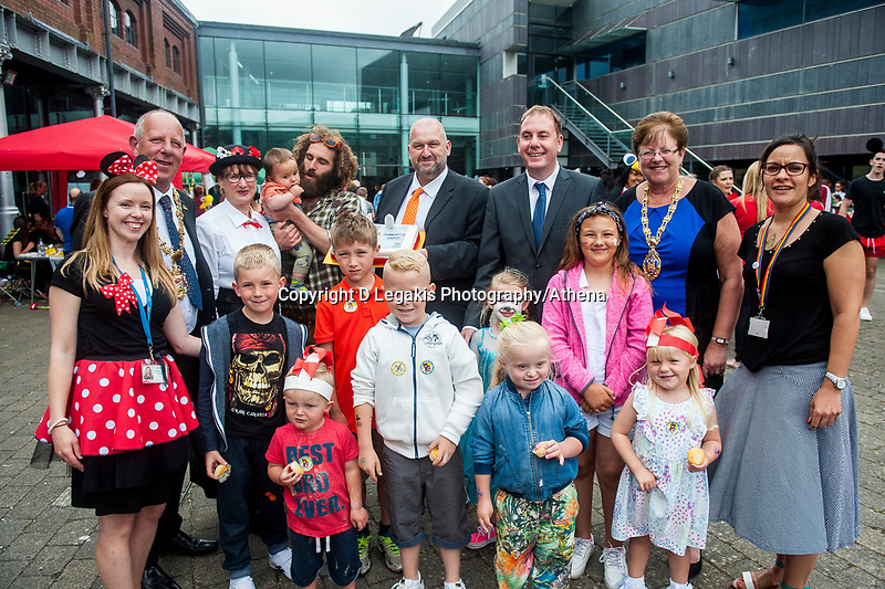 Thursday 21 July 2016<br /> Pictured: Carl Sergeant Re: A teddy bears picnic takes place at Swansea Waterfront Museum to celebrate 10 years of Flying Start