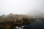 Rocky island in fog, South Farallon Islands, Farallon Islands, Farallon National Wildlife Refuge, California
