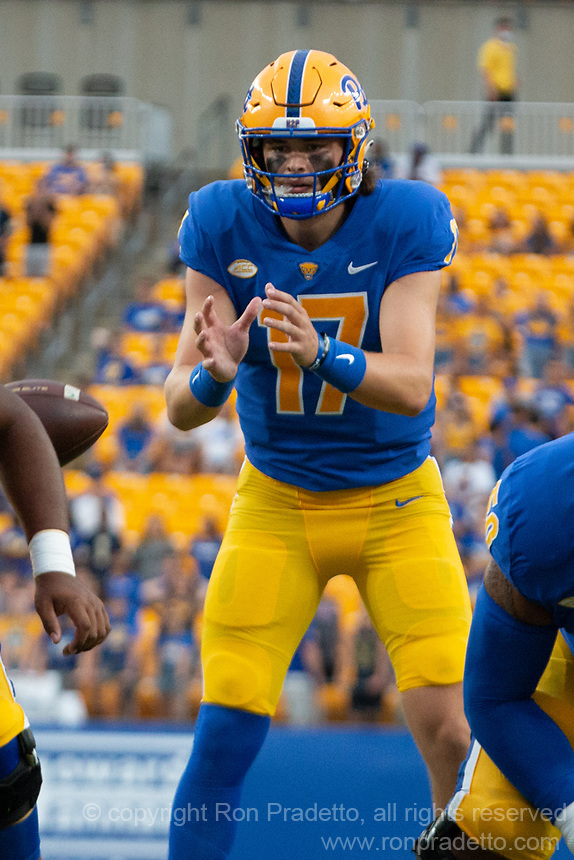 Pitt quarterback Davis Beville. The Pitt Panthers defeated the UMass Minutemen 51-7 on September 4, 2021 at Heinz Field, Pittsburgh, PA.