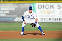 Burlington Royals first baseman Logan Nottebrok (27) on defense against the Bluefield Blue Jays at Burlington Athletic Stadium on June 28, 2016 in Burlington, North Carolina.  The Royals defeated the Blue Jays 4-0.  (Brian Westerholt/Four Seam Images)
