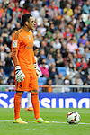 Real Madrid´s goalkeeper Keylor Navas during 2014-15 La Liga match between Real Madrid and Eibar at Santiago Bernabeu stadium in Madrid, Spain. April 11, 2015. (ALTERPHOTOS/Luis Fernandez)