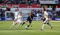Pictured: (L-R) Leon Britton, Damien Duff, Wayne Routledge.<br /> Sunday 19 May 2013<br /> Re: Barclay's Premier League, Swansea City FC v Fulham at the Liberty Stadium, south Wales.