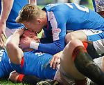 A kiss for Martyn Waghorn from Dean Shiels