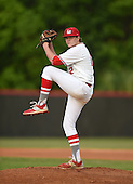 Lake Mary Rams pitcher Nikolas Kovach (12) during a game against the Lake Brantley Patriots on April 2, 2015 at Allen Tuttle Field in Lake Mary, Florida.  Lake Brantley defeated Lake Mary 10-5.  (Mike Janes Photography)