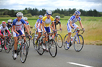 Tour leader Kristin Armstrong (yellow jersey, centre) in action during the NZCT Women's Cycle Tour of New Zealand Stage 4 at Palmerston North, New Zealand on Saturday, 25 February 2012. Photo: Dave Lintott / lintottphoto.co.nz