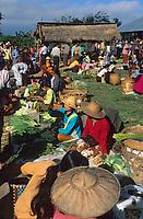 Asie/Birmanie/Myanmar/Ywathit: Lac Inle - Détail d'un étal sur le marché de Mang Thawk