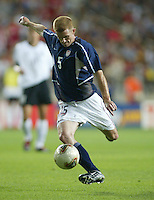 John O'Brien kicks the ball upfield. The USA lost to Germany 1-0 in the Quarterfinals of the FIFA World Cup 2002 in South Korea on June 21, 2002.