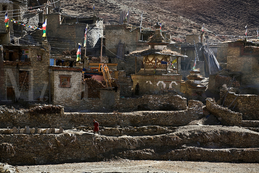 TIBETAN BUDDHIST STUPA in the village of NAR - NAR PHU TREK, ANNAPURNA CONSERVATION AREA, NEPAL