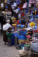 Fez, Morocco - Shopping for Household Utensils in the Market.