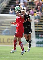 Lisa DeVanna (27) heads the ball against Rachel Buehler (4). FC Gold Pride defeated Washington Freedom 3-2 at Buck Shaw Stadium in Santa Clara, California on August 1, 2009.