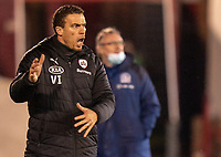 17th February 2021, Oakwell Stadium, Barnsley, Yorkshire, England; English Football League Championship Football, Barnsley FC versus Blackburn Rovers; Valérien Ismaël the Barnsley Manager furious as his side miss a chance to make the score 2-0