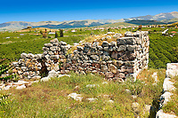 Walls of Tiryns (  or ) Mycenaean city archaeological site overlooking the fertile valley of the  Peloponnesos, Greece. A UNESCO World Heritage Site