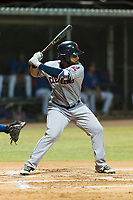AZL Indians 2 first baseman Felix Fernandez (9) at bat during an Arizona League game against the AZL Cubs 2 at Sloan Park on August 2, 2018 in Mesa, Arizona. The AZL Indians 2 defeated the AZL Cubs 2 by a score of 9-8. (Zachary Lucy/Four Seam Images)
