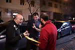 Madrid, Spain, February 12, 2015. Members of the left wing [party] Podemos make a break during their weekly meeting in Salamanca's neighbourhood in Madrid. <br /><br />Gabriel Pecot/laif