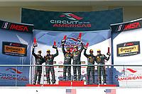IMSA Continental Tire SportsCar Challenge<br /> Advance Auto Parts SportsCar Showdown<br /> Circuit of The Americas, Austin, TX USA<br /> Friday 5 May 2017<br /> 56, Porsche, Porsche Cayman, ST, Jeff Mosing, Eric Foss, 17, Porsche, Porsche Cayman, ST, Spencer Pumpelly, Nick Galante, 75, Audi, Audi S3, ST, Roy Block, Pierre Kleinubing, podium<br /> World Copyright: Phillip Abbott<br /> LAT Images<br /> ref: Digital Image abbott_COTA_0517_7786