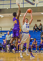 22 November 2015: Yeshiva University Maccabee Guard Shaje Weiss, a Senior from Edison, NJ, takes a first half jump shot against the Hunter College Hawks at the Max Stern Athletic Center  in New York, NY. The Maccabees defeated the Hawks 81-71 in non-conference play, for their second win of the season. Mandatory Credit: Ed Wolfstein Photo *** RAW (NEF) Image File Available ***