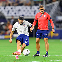 DALLAS, TX - JULY 25: Sebastian LLetget #17 of the United States warming up before a game between Jamaica and USMNT at AT&T Stadium on July 25, 2021 in Dallas, Texas.