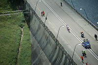 3 riders escaped from the peloton riding over the dam<br /> <br /> Belgian National Road Cycling Championships 2016<br /> Les Lacs de l'Eau d'Heure