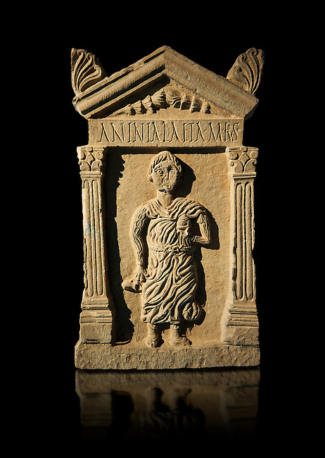 Second century Roman funerary stele dedicated to Anninia Laeta from the cemetery of Thuburbo Majus a city of the Roman province of Africa Proconsularis, in present day Tunisia. The Bardo National Museum , Tunis, Tunisia.  Against a black background.