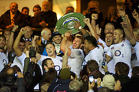 Chris Robshaw of England celebrates winning the Hilary Shield after the QBE Autumn International match between England and New Zealand at Twickenham on Saturday 01 December 2012 (Photo by Rob Munro)