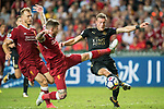 Leicester City FC forward Jamie Vardy (R) fights for the ball with Liverpool FC defender Alberto Moreno (C) during the Premier League Asia Trophy match between Liverpool FC and Leicester City FC at Hong Kong Stadium on 22 July 2017, in Hong Kong, China. Photo by Weixiang Lim / Power Sport Images