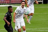 LOS ANGELES, CA - OCTOBER 25: Sacha Kljestan #16 of the Los Angeles Galaxy moves to the ball during a game between Los Angeles Galaxy and Los Angeles FC at Banc of California Stadium on October 25, 2020 in Los Angeles, California.