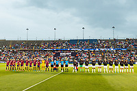 EAST HARTFORD, CT - JULY 1: USWNT and Mexico line up for pregame ceremonies before a game between Mexico and USWNT at Rentschler Field on July 1, 2021 in East Hartford, Connecticut.