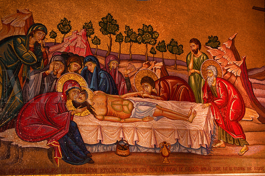 Mosiac, Jesus' body being annointed, Church of the holy Sepulchre, Jerusalem