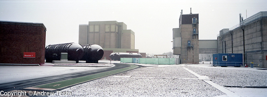 UK. Berlely. 7th December 2010..One of the reactors at Berkely that will soon be sealed until 2074 as part of the Decommissiong programme. In front lie two of the boilers that used to surround the reactor..©Andrew Testa/Panos for the Sunday Times Magazine..