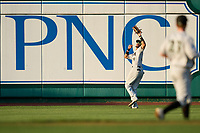 Dayton Dragons outfielder Allan Cerda (24) catches a fly ball during a game against the Fort Wayne TinCaps on August 25, 2021 at Parkview Field in Fort Wayne, Indiana.  (Mike Janes/Four Seam Images)