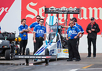 Feb 21, 2020; Chandler, Arizona, USA; Crew members for NHRA top fuel driver Leah Pruett during qualifying for the Arizona Nationals at Wild Horse Pass Motorsports Park. Mandatory Credit: Mark J. Rebilas-USA TODAY Sports
