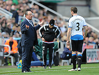 Rafa Benitez manager of Newcastle United (left) talks to Paul Dummett of Newcastle United during the Barclays Premier League match between Newcastle United and Swansea City played at St. James' Park, Newcastle upon Tyne, on the 16th April 2016