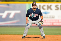 First baseman Michael Gonzales #32 of the Elizabethton Twins on defense versus the Burlington Royals at Burlington Athletic Park July 19, 2009 in Burlington, North Carolina. (Photo by Brian Westerholt / Four Seam Images)