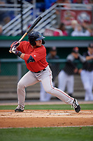 Lowell Spinners Cameron Cannon (50) at bat during a NY-Penn League Semifinal Playoff game against the Batavia Muckdogs on September 4, 2019 at Dwyer Stadium in Batavia, New York.  Batavia defeated Lowell 4-1.  (Mike Janes/Four Seam Images)